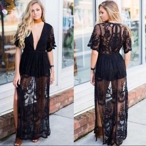 Honey Punch embroidered lace romper maxi, black